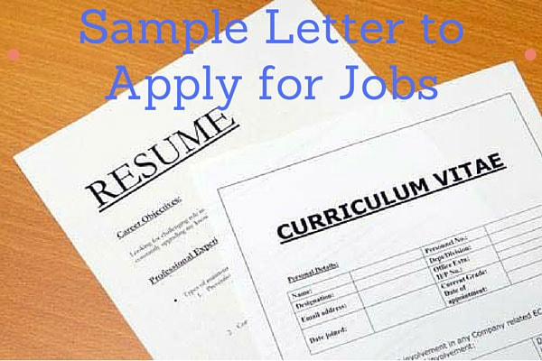 Sample Letter to Apply for Jobs