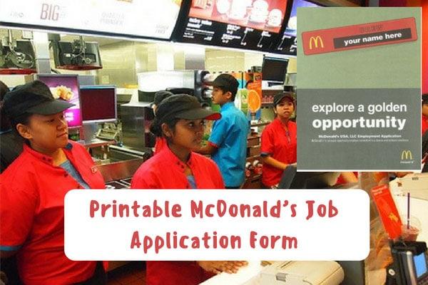 Printable McDonald's Job Application Form
