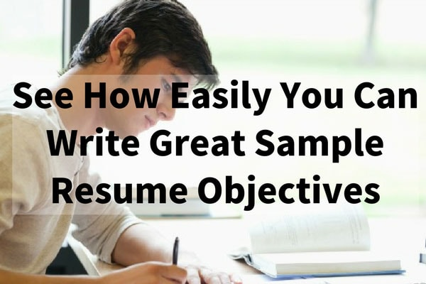 See How Easily You Can Write Great Sample Resume Objectives