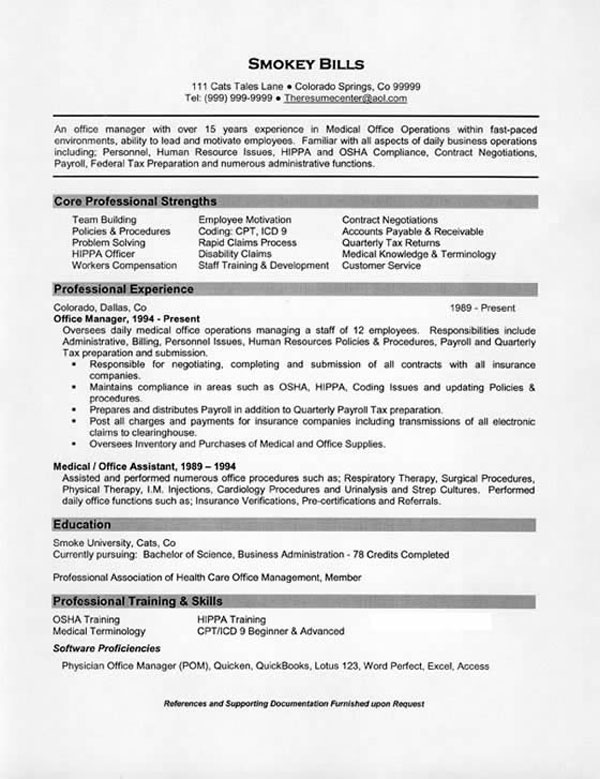 Best Office Manager Resume Sample